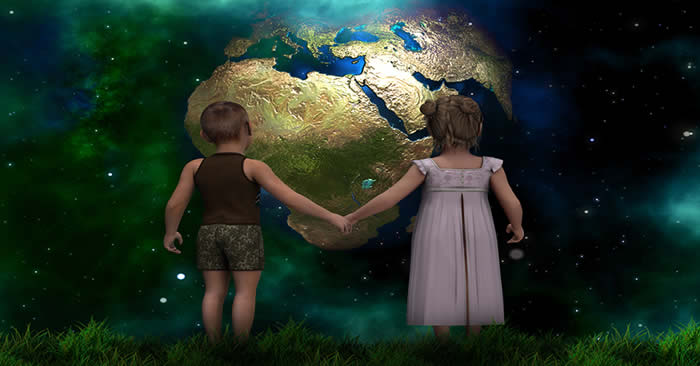 Two children holding hands looking at Earth from a different planet.