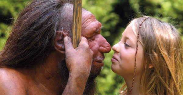 Male neanderthal and human woman.