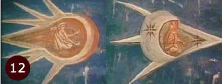 Close up of UFOs in the 1350 painting the  Crucifixion.