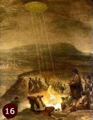 1710 painting of Baptism of Christ showing UFO shining light on Christ.
