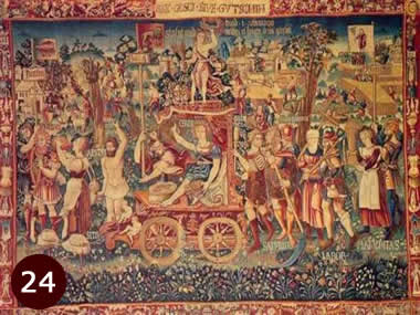 1538 tapestry named Summer's Triumph from the Bayerisches National Museum showing possible UFOs.