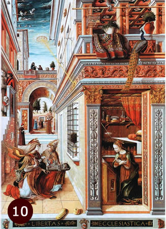 The Annunciation painting from 1486 by Carlo Crivelli, showing UFO beaming down light toward building.