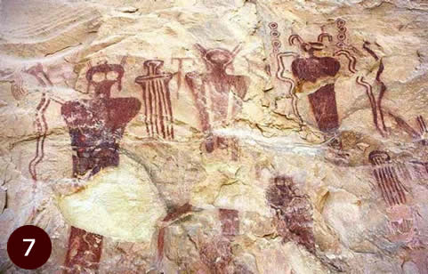 5,500 year olf Native American Rock Art showing alien like beings carved onto onto rocks in Sego Canyon, Utah.