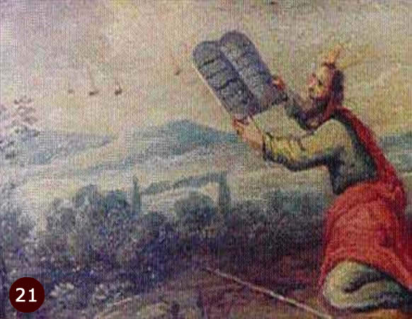 Painting on wood, kept at Earls D'Oltremond in Belgium, showing Moses possibly taking 10 commandments from aliens.