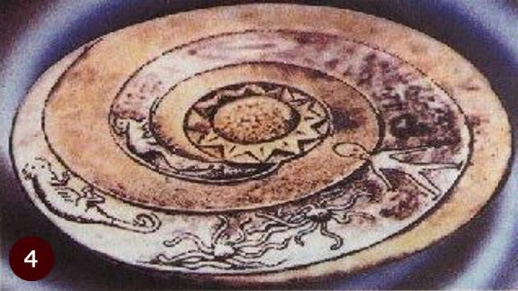 7,000 year old Lolladoff plate showing ufo and alien being.