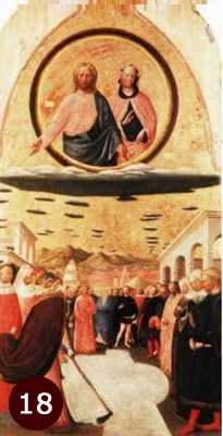 1440 painting Miracle of the Snow, by Masolino Da Panicale showing 2 beings in circle type cloud. Possibly aliens.